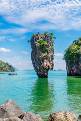 Fototapeta Morze Vertical image amazing nature scenic landscape James bond island, Phang Nga bay, Attraction famous landmark tourist travel Phuket Thailand summer holiday vacation, Tourism beautiful destination Asia