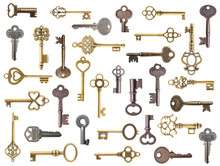 Set Of Old Keys Isolated On Wh...