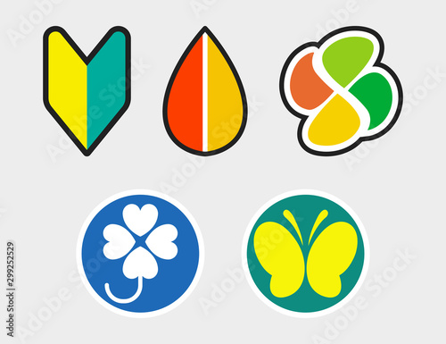 Driving stickers in Japan Set Illustration Vector Wallpaper Mural