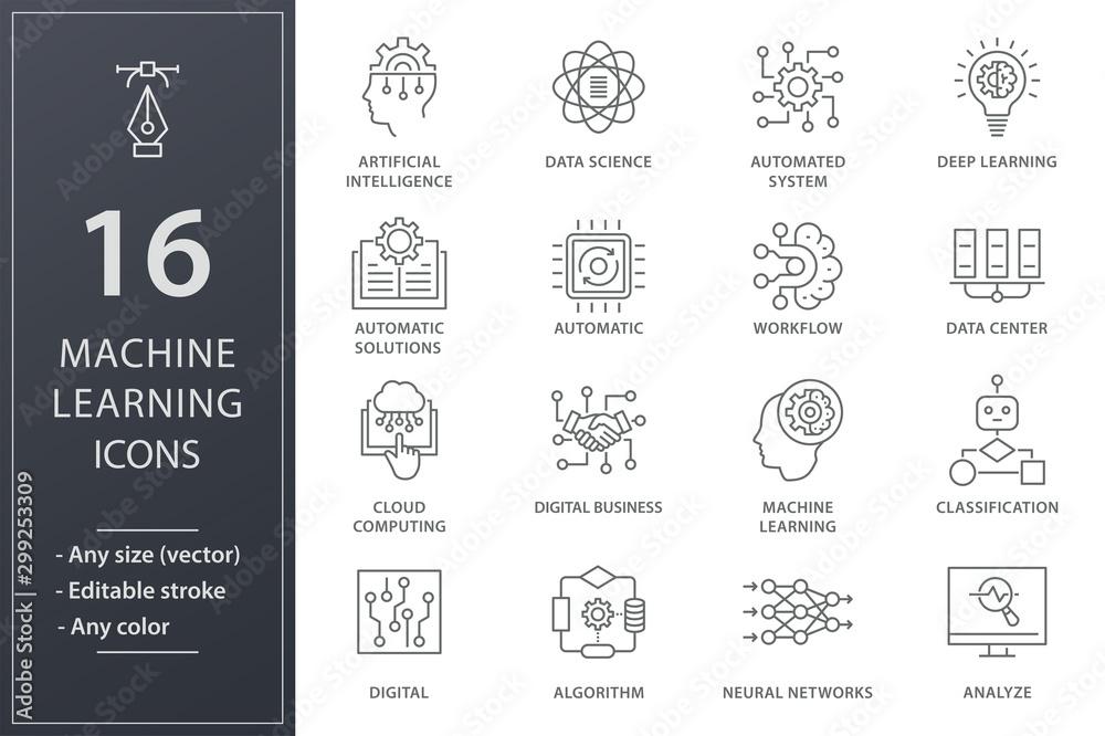 Fototapety, obrazy: Machine learning line icons set. Black vector illustration. Editable stroke.