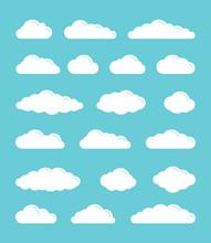 White Flat Vector Simple Cloud...