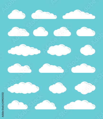 White flat vector simple clouds icons set