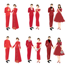 Chinese Wedding Couple In Traditional Red Dress Holding Hands And Greeting For Chinese New Year Collection  Eps10 Vectors Illustration