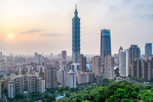 Skyline Of Taipei At Dusk - Ta...