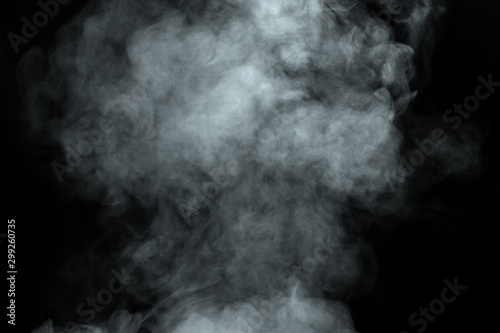 Poster Fumee Abstract powder or smoke isolated on black background
