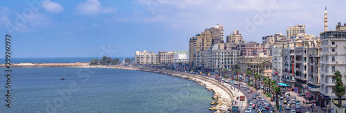 Photo The Corniche is a waterfront promenade in Alexandria and the major corridor for