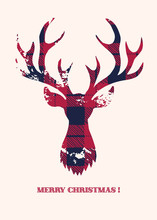 A Merry Christmas Card With A Buffalo Checks Textured Silhouette Of A Deer Head On White Background