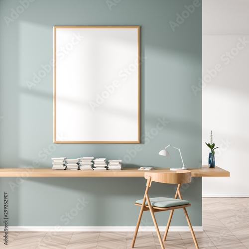 Pinturas sobre lienzo  Mock up poster frame in Scandinavian style interior with wooden work desk