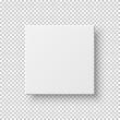 White realistic square on transparent backdrop