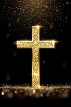 Gold Prayer Cross Realistic Vector Illustration