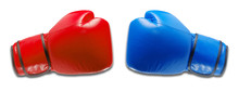 Red And Blue Boxing Gloves Competition With Shadow
