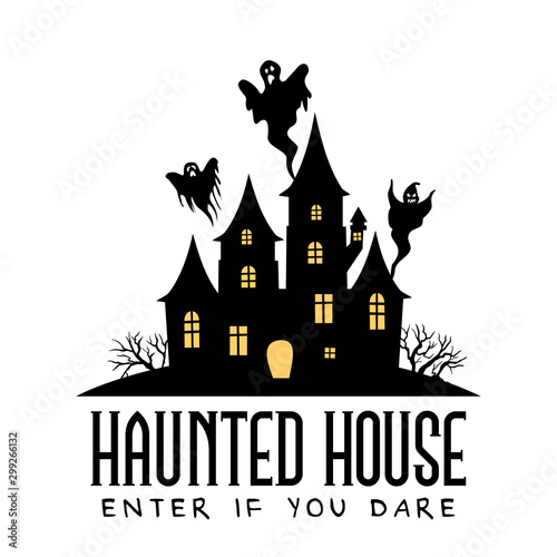 Haunted House vector sign with creepy house and shosts Fototapete