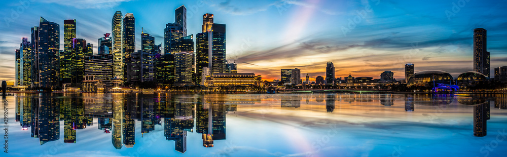 Panoramic view of Singapore at twilight