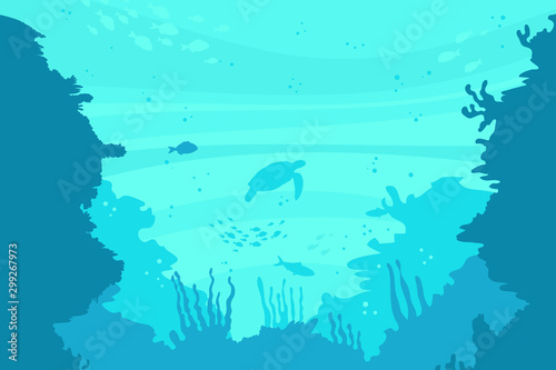Foto auf Leinwand Reef grun sea ​​turtles in the ocean vector illustration