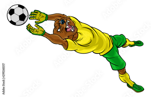 A bear soccer football player goal keeper cartoon animal sports mascot diving to Wallpaper Mural