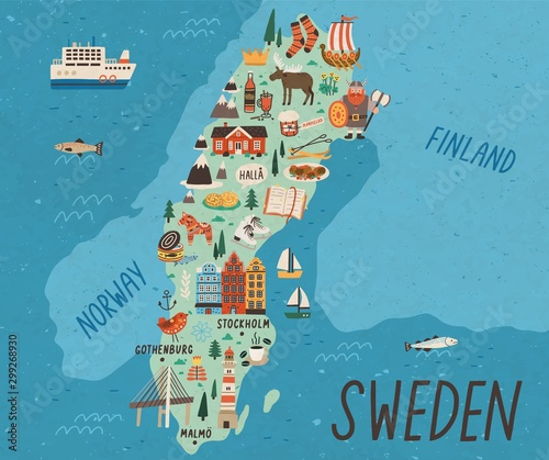 Fotografía Cultural map of Sweden flat vector illustration