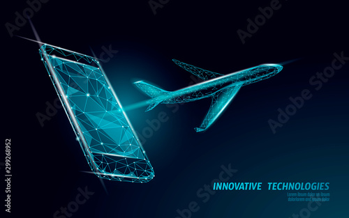 Fotomural Airplane flying from smartphone screen