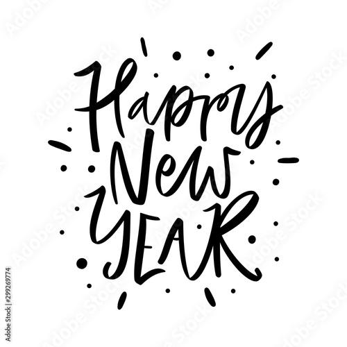 Obraz na plátně  Happy New Year hand drawn modern brush lettering isolated on white background