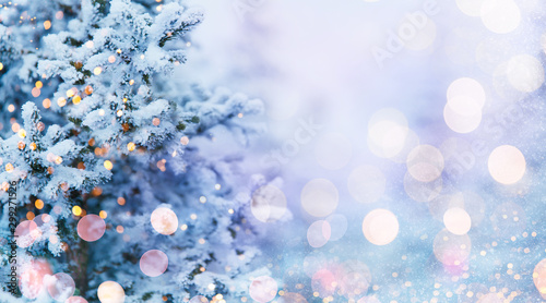 Cadres-photo bureau Blanc Christmas and New Year holidays background, greeting card. Glitter lights backdrop. Winter season. Text space. Closeup of Christmas-tree.