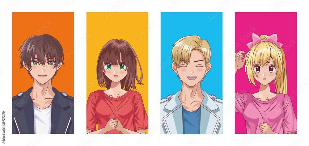 grupa ludzi w stylu hentai <span>plik: #299272170 | autor: Vectorfair.com</span>