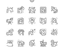 Unicorn Well-crafted Pixel Perfect Vector Thin Line Icons 30 2x Grid For Web Graphics And Apps. Simple Minimal Pictogram