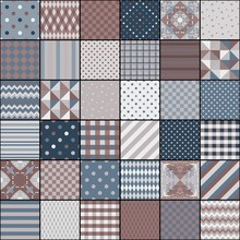 Quilting Design From Square Patterns With Different Geometric Ornaments. Vintage Style. Seamless Patchwork Pattern.
