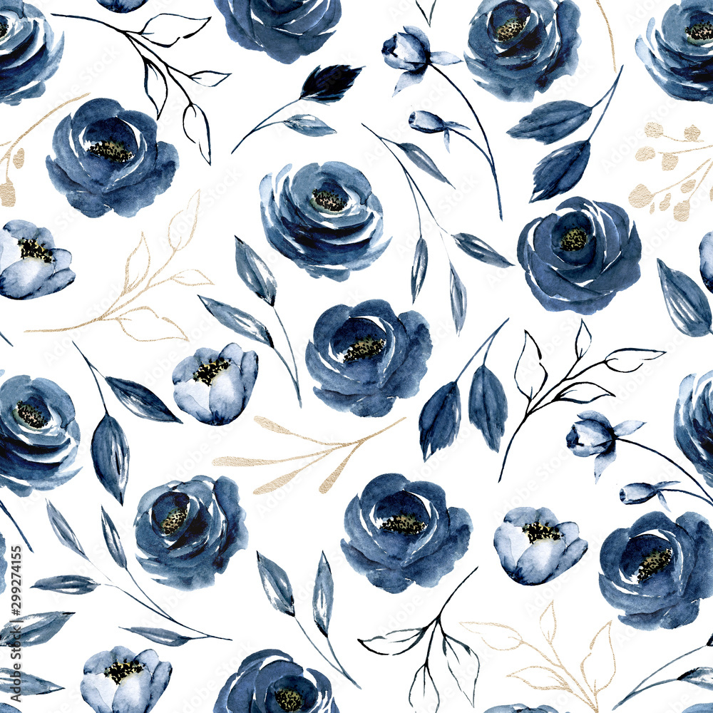 Fototapeta Seamless pattern with watercolor flowers navy blue roses, repeat floral texture, background hand drawing. Perfectly for wrapping paper, wallpaper, fabric, texture and other printing.