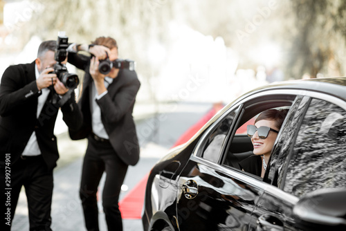 Photo reporters photographing actress ariving on the awards ceremony Canvas Print