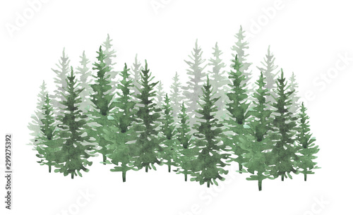 Hand drawn watercolor coniferous forest illustration, spruce. Winter nature, holiday background, conifer, snow, outdoor, snowy rural landscape.Mysterious fir or pine trees  for winter Christmas design - 299275392