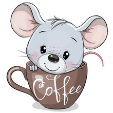 Cartoon Mouse Is Sitting In A Cup Of Coffee