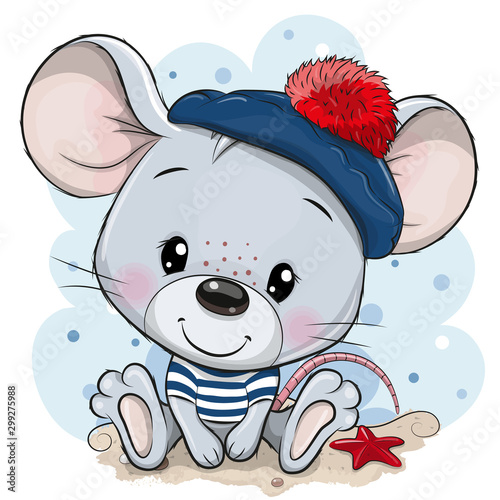 Leinwand Poster Cartoon Mouse in sailor costume