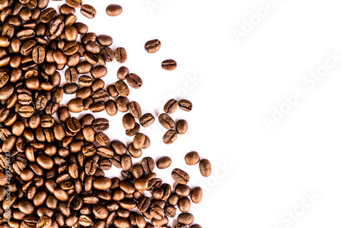 Foto op Aluminium Cafe Close up of Coffee beans on white background
