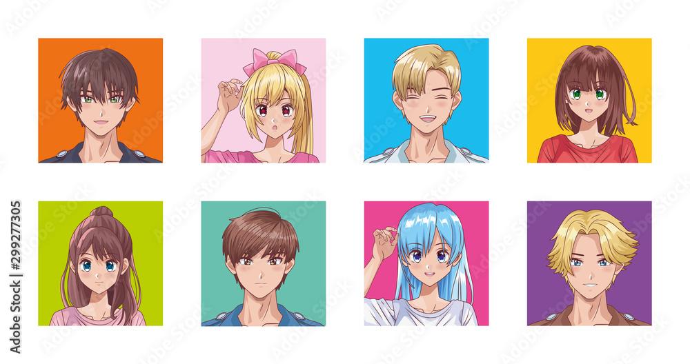 grupa ludzi w stylu hentai <span>plik: #299277305 | autor: Vectorfair.com</span>