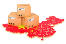Parcels On The Chinese Map. Sh...