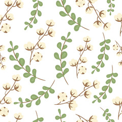 Green eucalyptus branches and cotton branches on white. Decorative seamless pattern on white background.