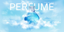 Perfume Spray Bottle In Cloudy Sky Landing Page Mock Up Banner. Glass Flask Mockup On Blue Heaven Background With Clouds. Scent Fragrance Cosmetic Product, Promo Ad Realistic 3d Vector Illustration
