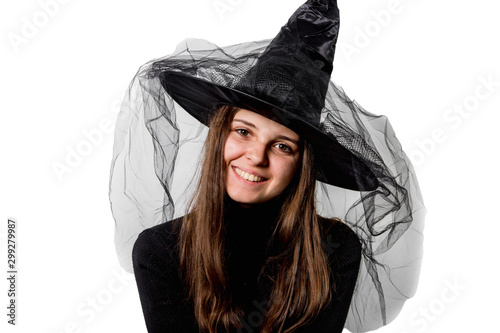 Photographie Uśmiechnięta czarownica. Halloween.