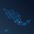 Mexico map with cities. Luminous dots - neon lights on dark background. Vector illustration.