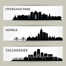 United States Of America Cities Skylines - USA, Overland Park, Kansas, Tallahassee, Florida, Mobile, Alabama - Isolated Vector Illustration