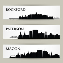 United States Of America Cities Skylines - USA, Rockford, Illinois, Macon, Georgia, Peterson, New Jersey - Isolated Vector Illustration