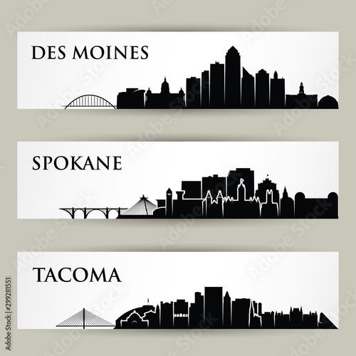 Fototapeta United States of America cities skylines - USA - Des Moines, Spokane, Tacoma, Iowa, Washington - isolated vector illustration obraz