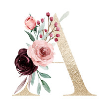 Floral Alphabet, Letter A With Watercolor Flowers And Leaf. Gold Monogram Initials Perfectly For Wedding Invitations, Greeting Card, Logo, Poster And Other Design. Holiday Design Hand Painting.