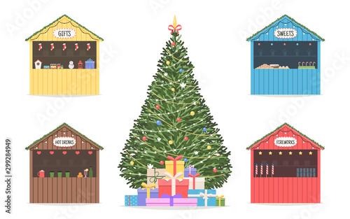 Christmas market set of shops Fototapete