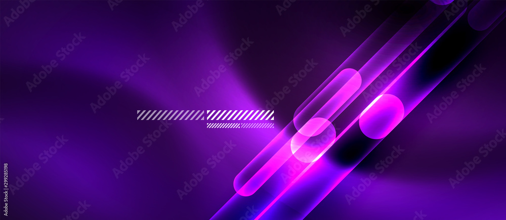 Fototapety, obrazy: Glass neon block and lines abstract background