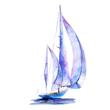Watercolor Illustration, Hand Drawn Painted Sailboat Isolated Object On White Background. Art Print Boat With Blue Sails.