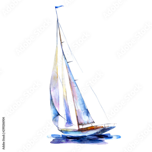 Slika na platnu Watercolor illustration, hand drawn painted sailboat isolated object on white background