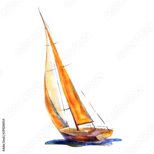 Fotografija Watercolor illustration, hand drawn painted sailboat isolated object on white background
