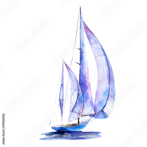 Watercolor illustration, hand drawn painted sailboat isolated object on white background Obraz na płótnie