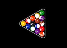 American Pool Billiards Balls Rack Triangle Table Set Up 3D Render