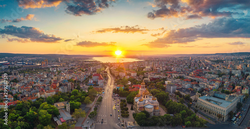 The Cathedral of the Assumption in Varna, Aerial view Canvas Print